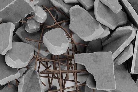 Realistic 3D Render of Pile of Rubble Фото со стока