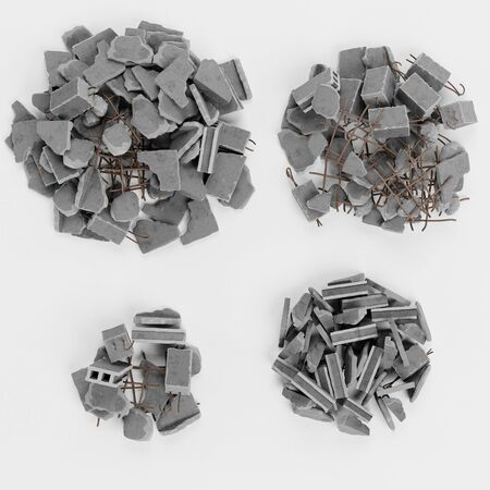 Realistic 3D Render of Piles of Rubble