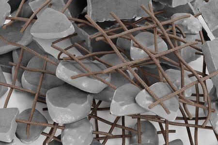 Realistic 3D Render of Pile of Rubble Reklamní fotografie