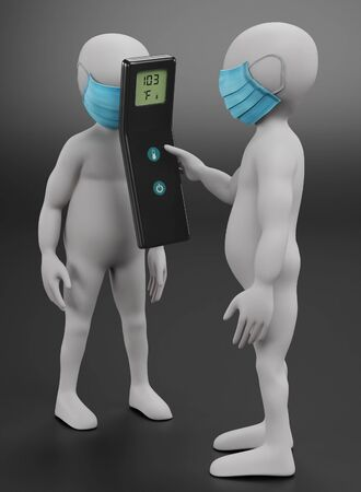 3D Render of Cartoon Characters with Face Mask and Thermometer