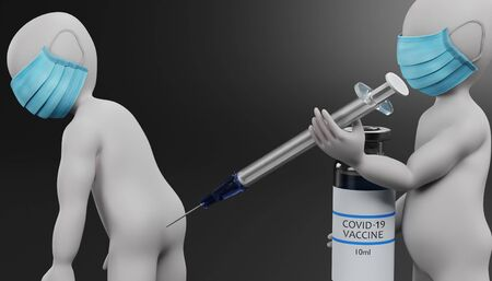 3D Render of Cartoon Character with Face Mask and Vaccine