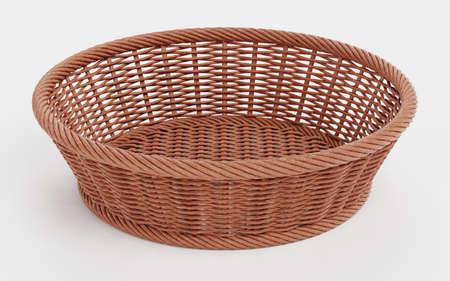 Realistic 3D Render of Wicker Basket