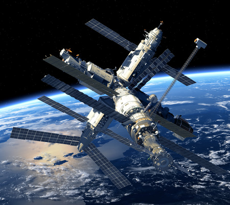space station: Space Station Orbiting Earth  Stock Photo