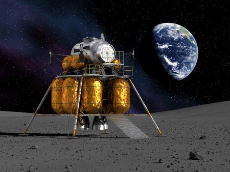 月に月着陸船 写真素材