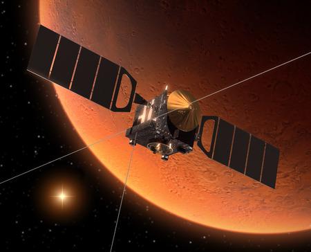 Ruimtevaartuig Orbiting Mars Stockfoto
