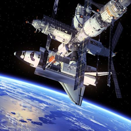 スペースシャトルや宇宙ステーション 写真素材