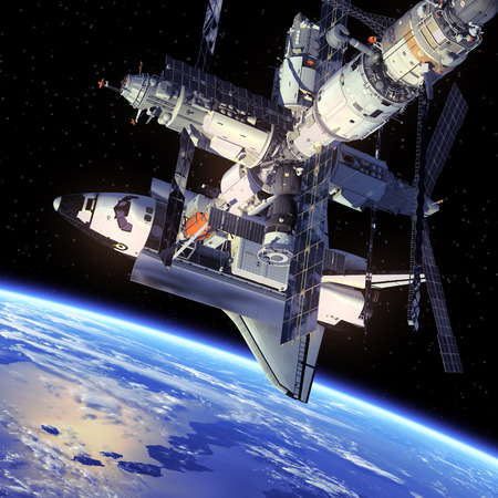 Space Shuttle en ruimtestation