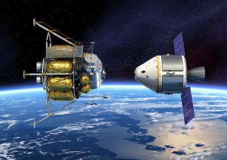 orbiting: Crew Exploration Vehicle Orbiting Earth  3D Scene