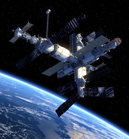 宇宙ステーションの 3 D シーン