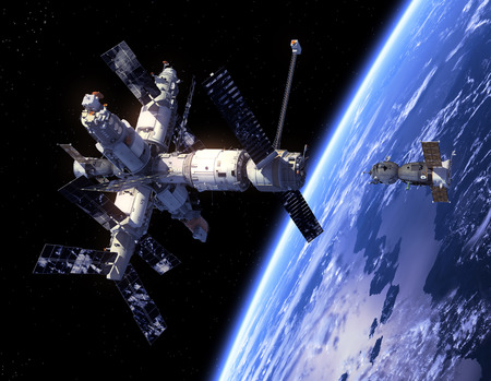 space station: Spacecraft  Soyuz   And Space Station  3D Scene
