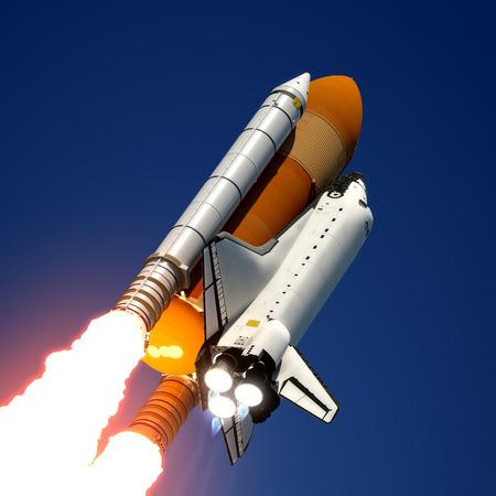 スペースシャトル打ち上げ 3 D シーン 写真素材