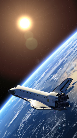 Space Shuttle in de ruimte 3D-scène