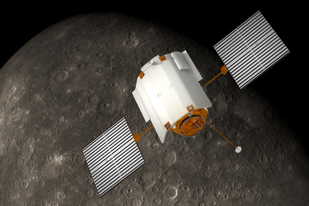 Spacecraft  Messenger  Orbiting Mercury  3D Scene  photo