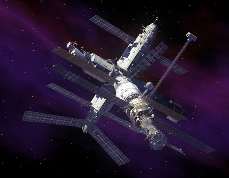 space station: Space Station in Space  3D Scene  Stock Photo