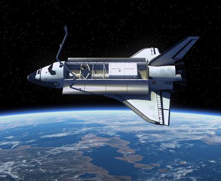 Space Shuttle Orbiting Earth 3D Scene