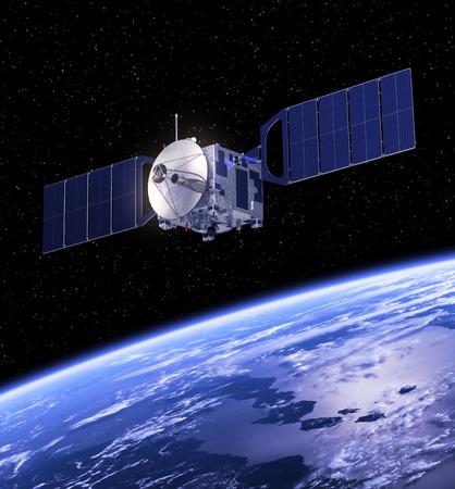orbiting: Satellite Orbiting Earth  3D Scene  Stock Photo