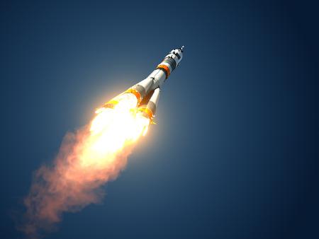 rocket launch: Carrier Rocket  Takes Off  3D Scene