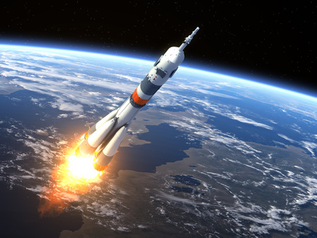 Carrier rocket  Launching  3D Scene Stock Photo - 30137902