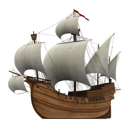 caravel: Caravel  3D Model  Stock Photo