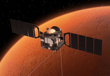 orbiting: Spacecraft  Mars Express  Orbiting Mars  3D Scene  Stock Photo