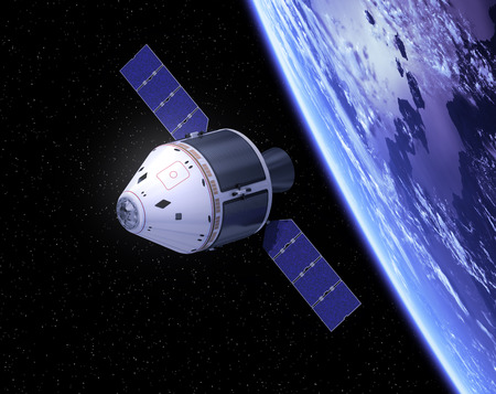 Crew Exploration Vehicle In Space Stockfoto