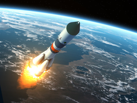 launch: Cargo Rocket Takes Off. Realistic 3D Scene.