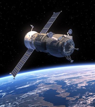 Cargo Spacecraft Progress Orbiting Earth. 3D Scene.
