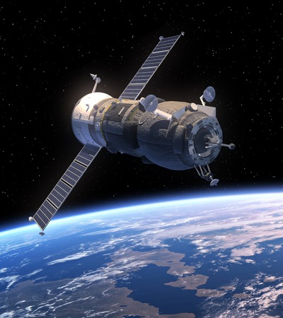 Cargo Spacecraft Progress Orbiting Earth. 3D Scene. photo