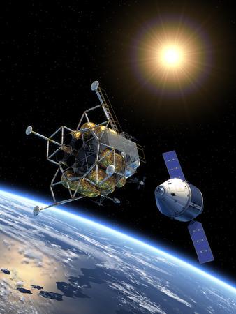 Crew Exploration Vehicle Docking In Space. Scene 3D. Archivio Fotografico - 31372394