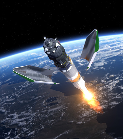 Launch Of Cargo Spacecraft Progress. 3D Scene.