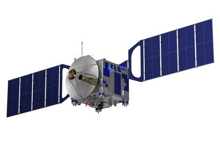 Satellite On A White Backgroud. 3D Model. Zdjęcie Seryjne