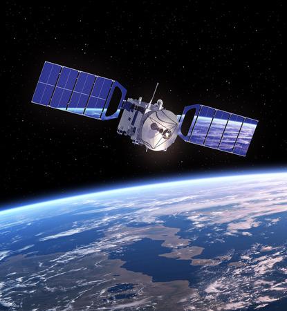 Space Satellite In Space. Realistic 3D Scene.