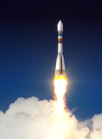 로켓이 우주로 발사. 3D 장면입니다. 스톡 콘텐츠