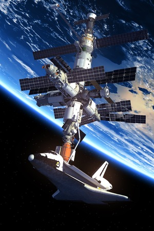 orbiting: Space Shuttle And Space Station Orbiting Earth. 3D Scene.