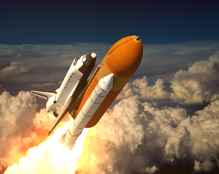 Space Shuttle In The Clouds. 3D Scene. photo