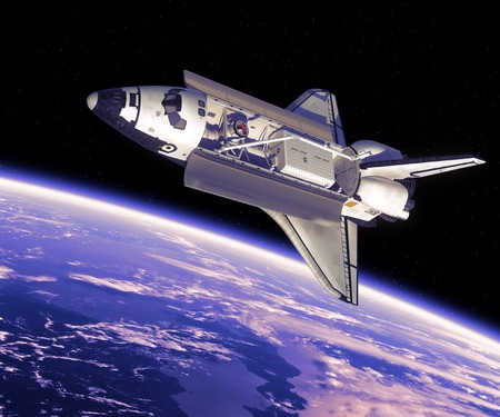 Space Shuttle in Space. 3D Scene. Stock Photo