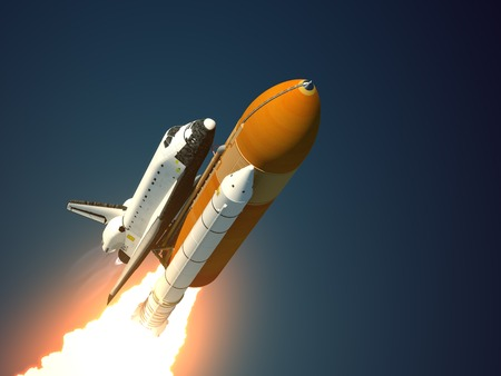 launch: Space Shuttle Takes Off. Realistic 3D Scene. Stock Photo