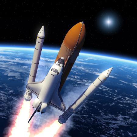 우주 왕복선 고체 로켓 부스터 분리. 3D 장면. 스톡 콘텐츠
