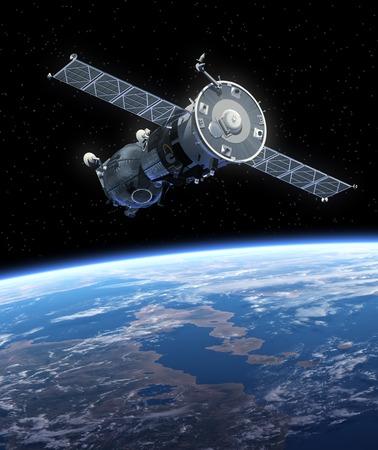 宇宙船。3D のシーン。 写真素材