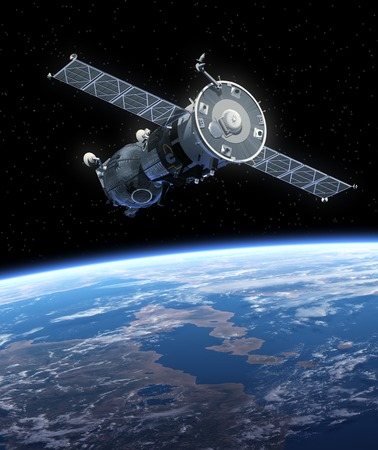 raumschiff: Raumschiff. 3D-Szene. Lizenzfreie Bilder