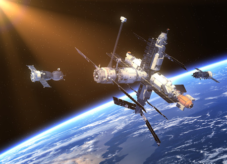 space station: Spacecraft  And Space Station. 3D Scene.