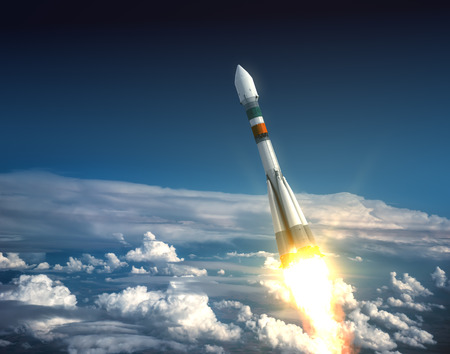 Carrier Rocket Take Off. Realistic 3D Scene. Stock Photo