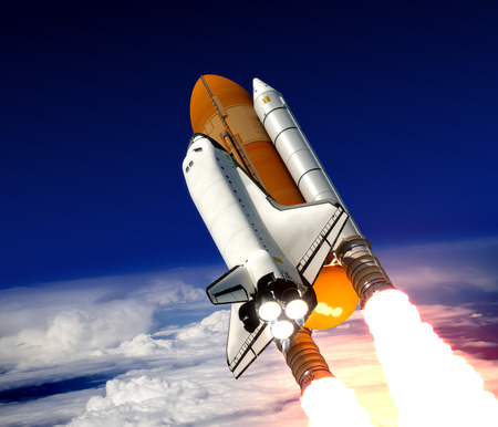 Space Shuttle Take Off. Realistische 3D-scène. Stockfoto - 32789721