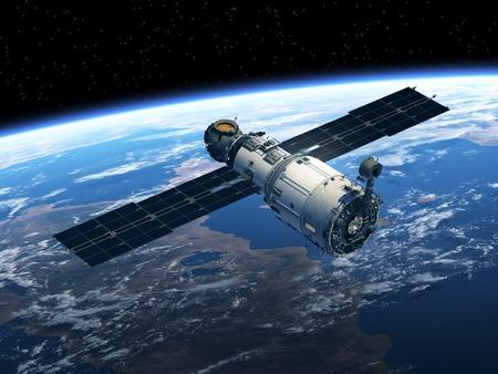 공간에 우주 정거장. 현실적인 3D 장면.
