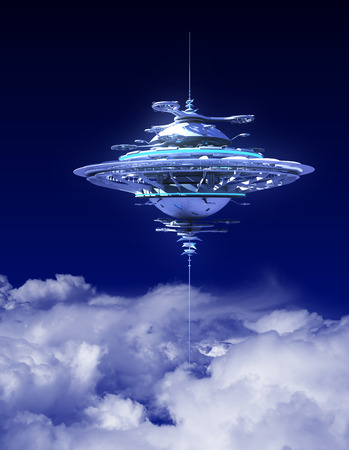 above the clouds: Sky Station Above The Clouds. 3D Scene.
