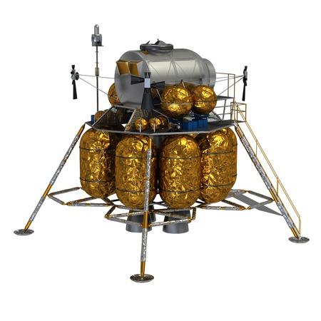 cev: 3D Model Of Lunar Lander On White Background.