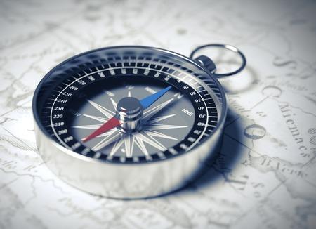 Kompas op de kaart. Realistische 3D-scène.