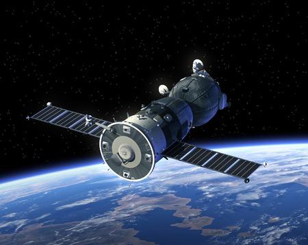 Ruimtevaartuig Sojoez In Space. Realistische 3D-scène.