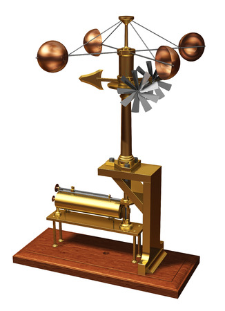 anemometer: Retro Anemometer. Weather Station. Realistic 3D Model.