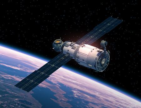 宇宙で宇宙ステーション。リアルな 3 D シーン。